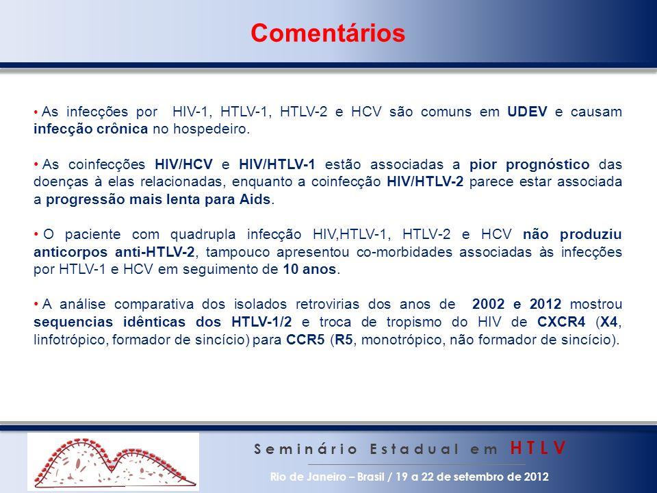 Comentários S e m i n á r i o E s t a d u a l e m H T L V Rio de Janeiro – Brasil / 19 a 22 de setembro de 2012 As infecções por HIV-1, HTLV-1, HTLV-2