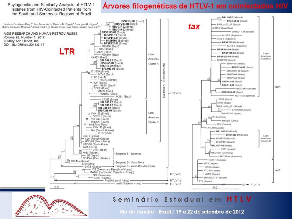 S e m i n á r i o E s t a d u a l e m H T L V Rio de Janeiro – Brasil / 19 a 22 de setembro de 2012 LTR tax Árvores filogenéticas de HTLV-1 em coinfec