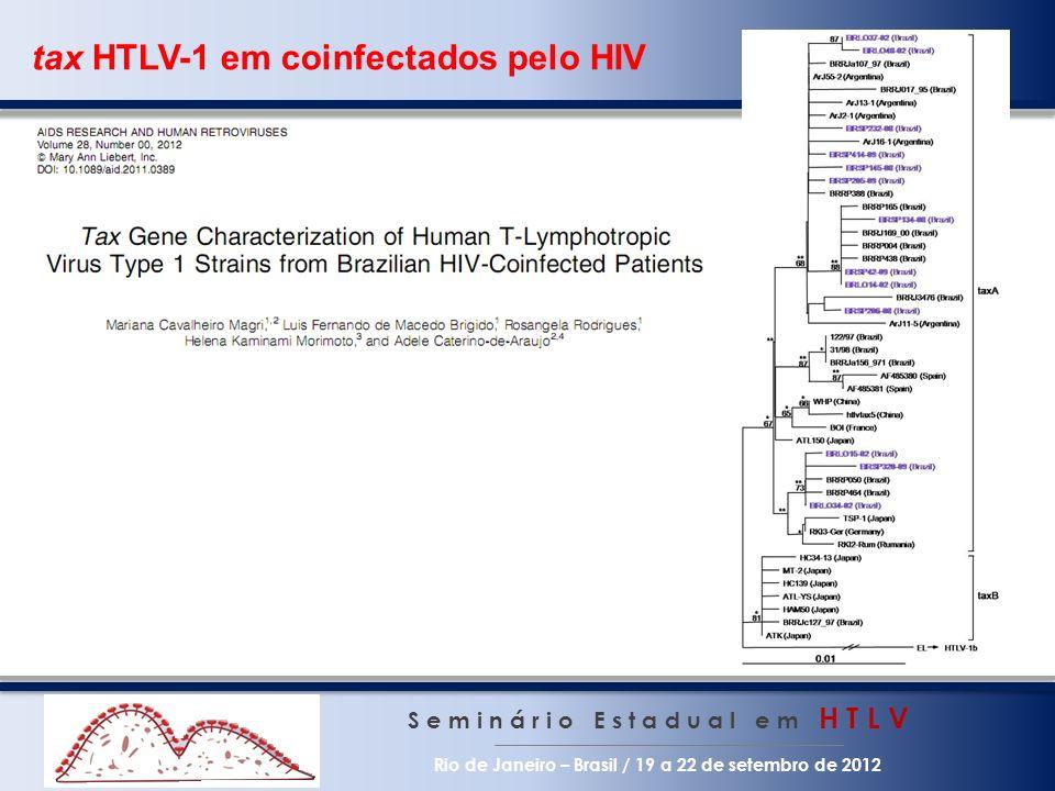 tax HTLV-1 em coinfectados pelo HIV S e m i n á r i o E s t a d u a l e m H T L V Rio de Janeiro – Brasil / 19 a 22 de setembro de 2012
