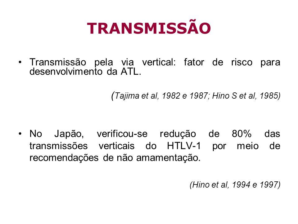 Transmissão pela via vertical: fator de risco para desenvolvimento da ATL. ( Tajima et al, 1982 e 1987; Hino S et al, 1985) No Japão, verificou-se red