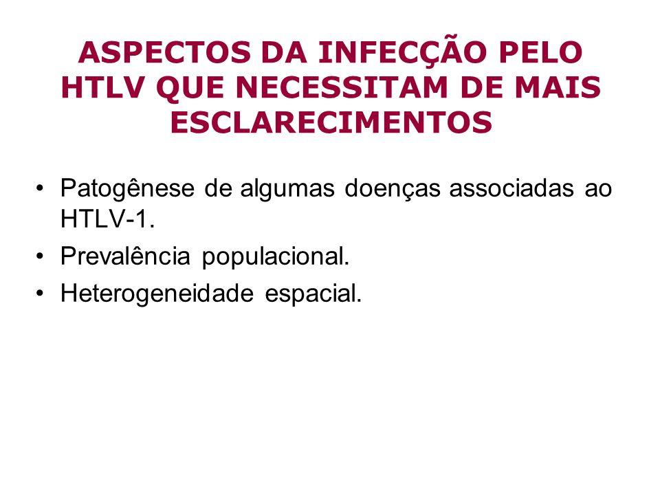 ASPECTOS DA INFECÇÃO PELO HTLV QUE NECESSITAM DE MAIS ESCLARECIMENTOS Patogênese de algumas doenças associadas ao HTLV-1. Prevalência populacional. He