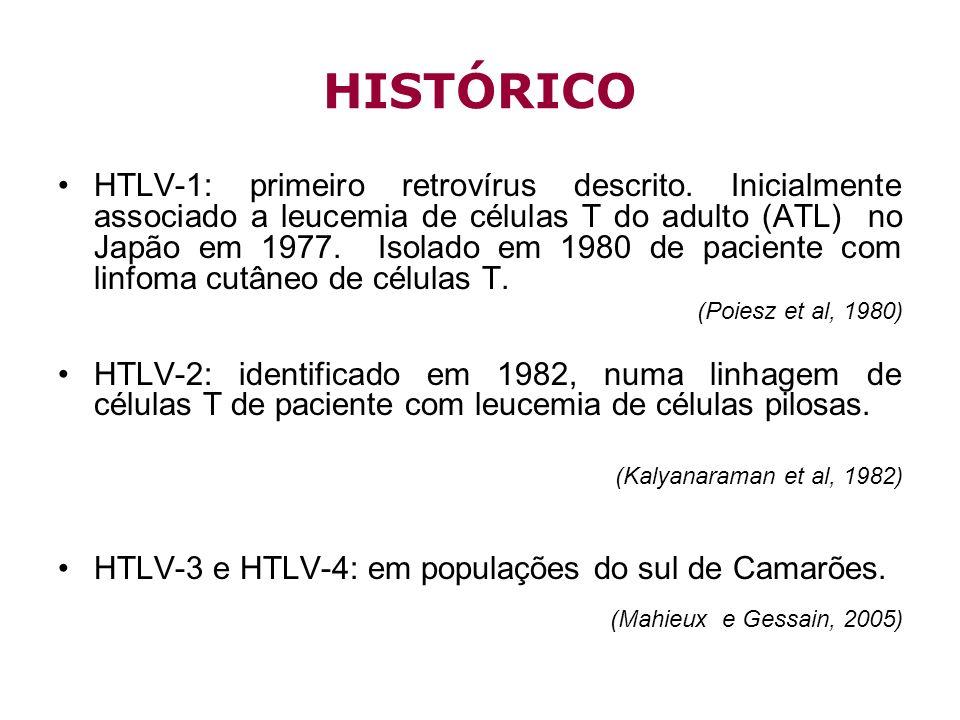 HISTÓRICO HTLV-1: primeiro retrovírus descrito. Inicialmente associado a leucemia de células T do adulto (ATL) no Japão em 1977. Isolado em 1980 de pa