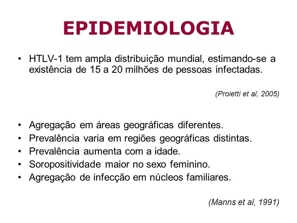 EPIDEMIOLOGIA HTLV-1 tem ampla distribuição mundial, estimando-se a existência de 15 a 20 milhões de pessoas infectadas. (Proietti et al, 2005) Agrega