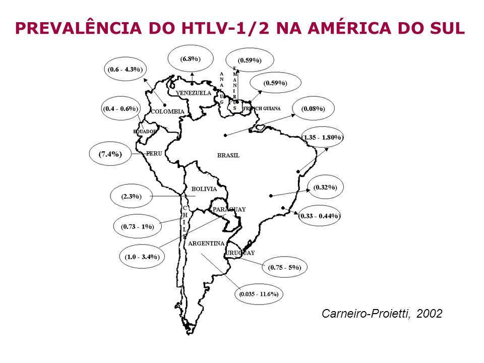 HTLV- 1/2 100/1000 a 477/1000 (Caiaffa W, 2002) 0.4/1000 a 10/1000 HTLV-1/2 (Catalan-Soares, 2005) 36/1000 to 338/1000 HTLV-2 na região Amazônica (Carneiro-Proietti, 2002) 2.500.000 infectados.