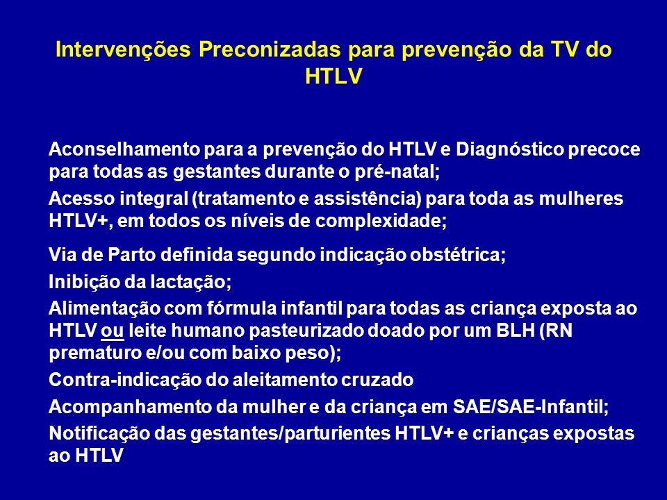 Intervenções Preconizadas para prevenção da TV do HTLV Aconselhamento para a prevenção do HTLV e Diagnóstico precoce para todas as gestantes durante o