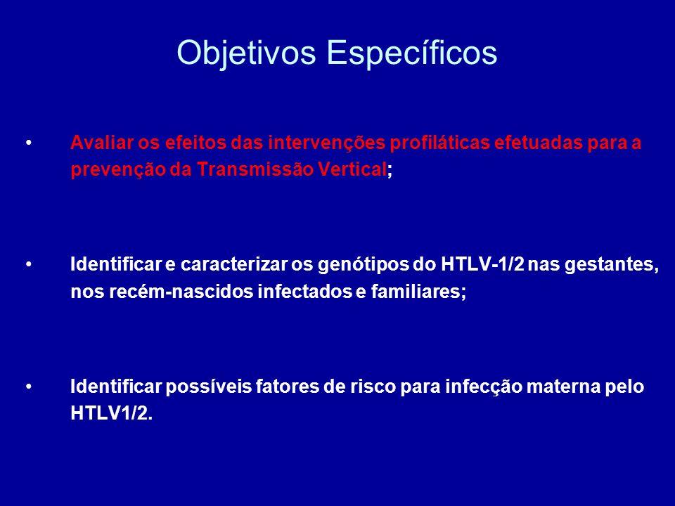 Objetivos Específicos Avaliar os efeitos das intervenções profiláticas efetuadas para a prevenção da Transmissão Vertical; Identificar e caracterizar