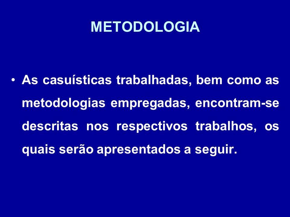 METODOLOGIA As casuísticas trabalhadas, bem como as metodologias empregadas, encontram-se descritas nos respectivos trabalhos, os quais serão apresent