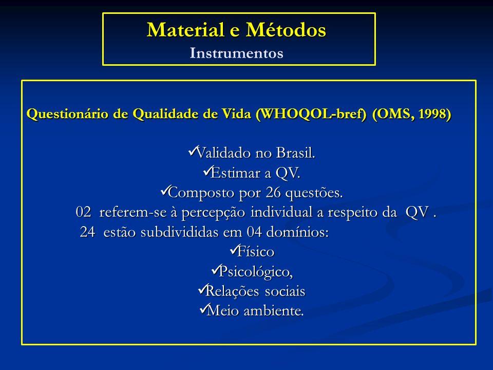 Material e Métodos Material e Métodos Instrumentos Questionário de Qualidade de Vida (WHOQOL-bref) (OMS, 1998) Validado no Brasil. Validado no Brasil.