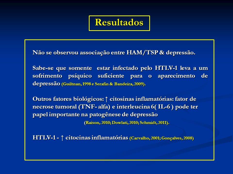 Resultados Não se observou associação entre HAM/TSP & depressão. Sabe-se que somente estar infectado pelo HTLV-1 leva a um sofrimento psíquico suficie