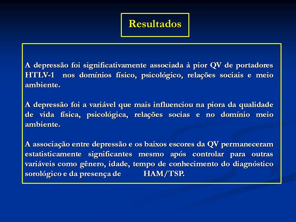 Resultados A depressão foi significativamente associada à pior QV de portadores HTLV-1 nos domínios físico, psicológico, relações sociais e meio ambie