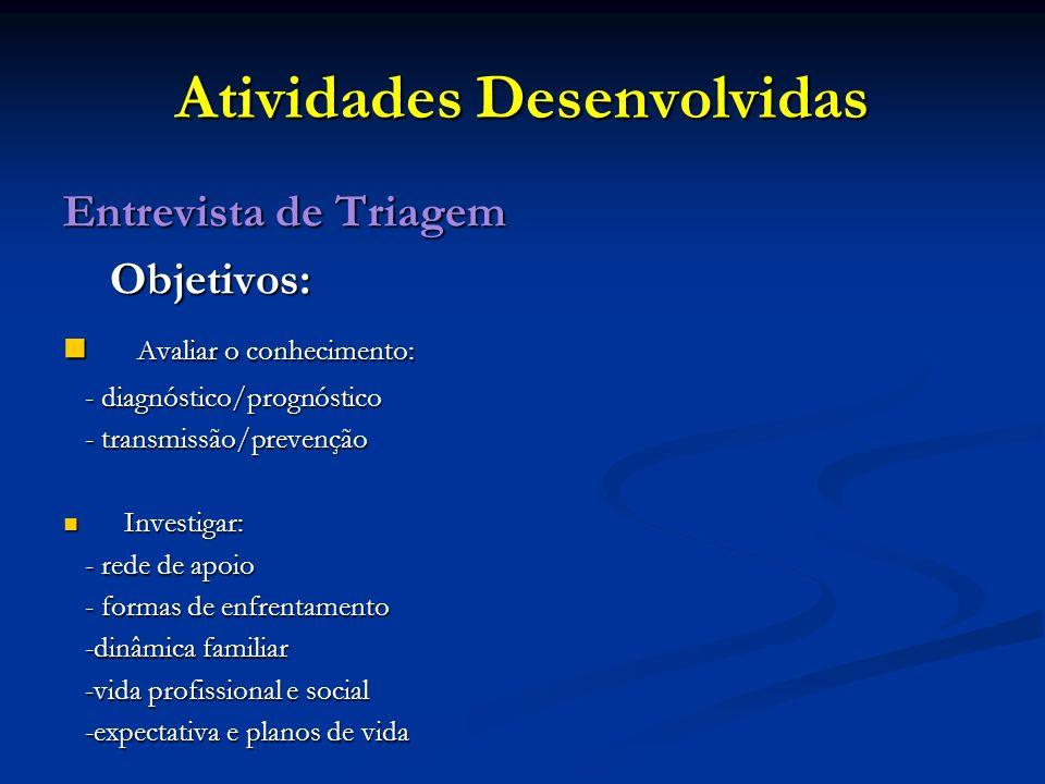 Atividades Desenvolvidas Entrevista de Triagem Objetivos: Objetivos: Avaliar o conhecimento: Avaliar o conhecimento: - diagnóstico/prognóstico - diagn