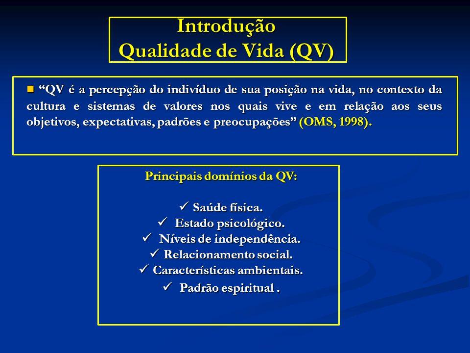 Introdução Qualidade de Vida (QV) QV é a percepção do indivíduo de sua posição na vida, no contexto da cultura e sistemas de valores nos quais vive e