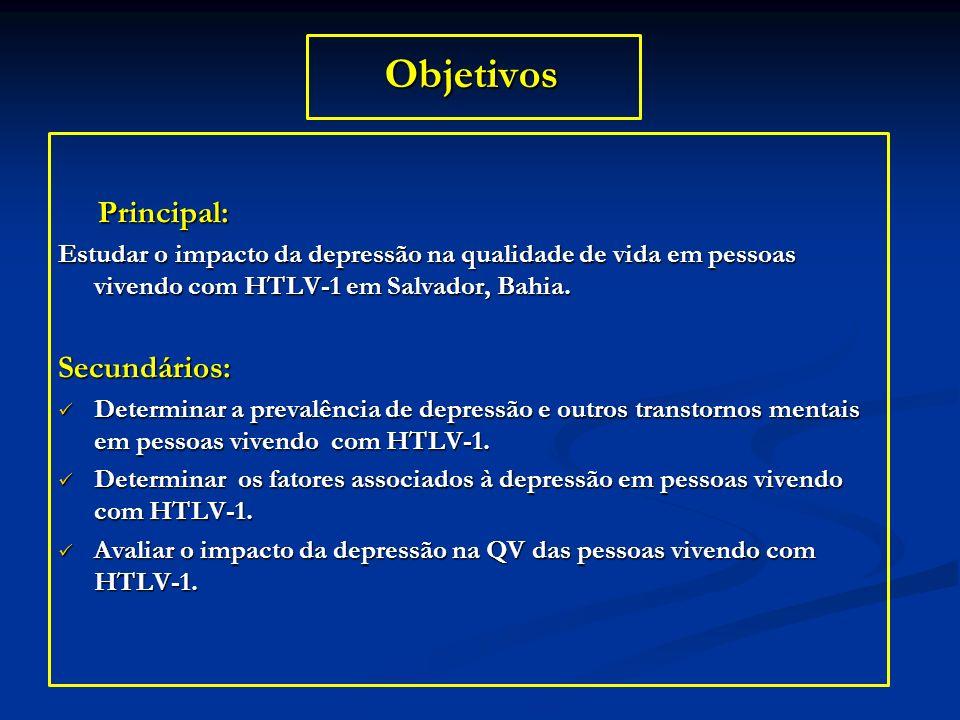 Objetivos Principal: Principal: Estudar o impacto da depressão na qualidade de vida em pessoas vivendo com HTLV-1 em Salvador, Bahia. Secundários: Det