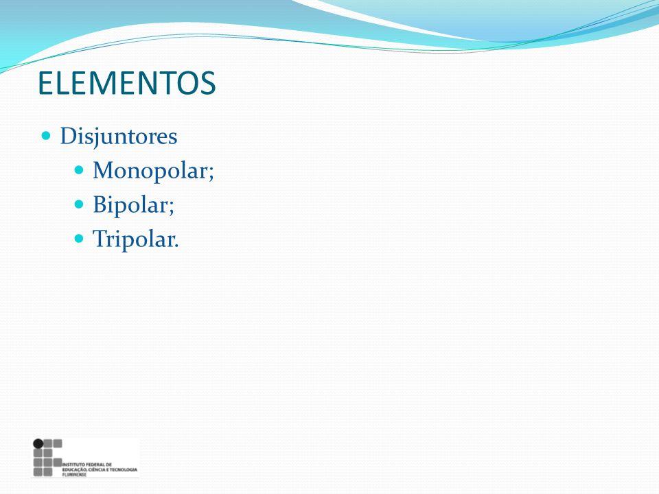 ELEMENTOS Disjuntores Monopolar; Bipolar; Tripolar.