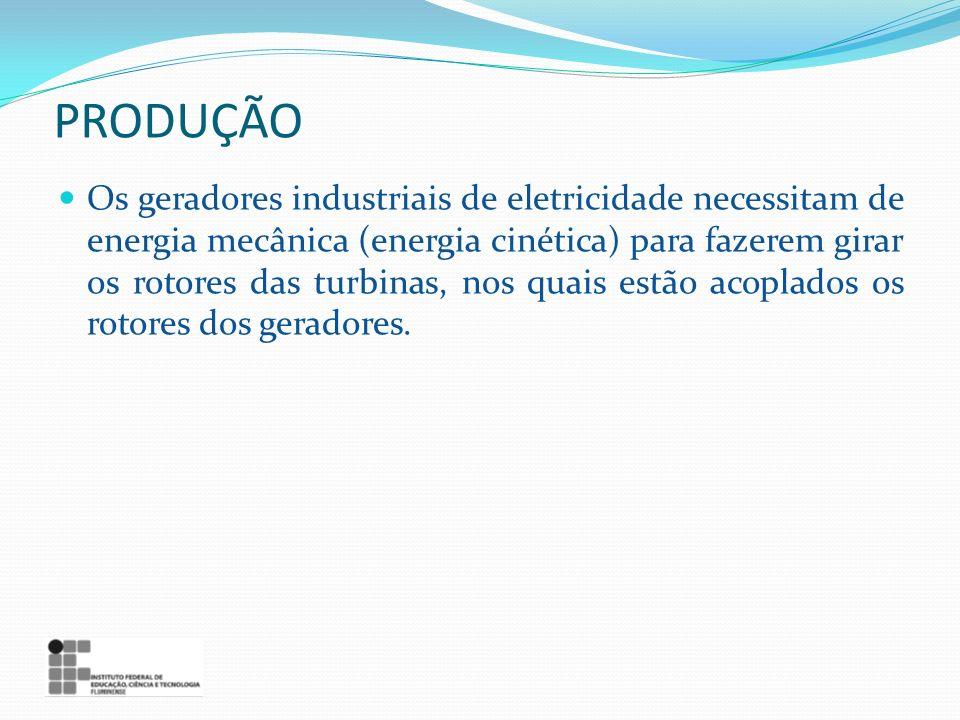 PRODUÇÃO Os geradores industriais de eletricidade necessitam de energia mecânica (energia cinética) para fazerem girar os rotores das turbinas, nos qu