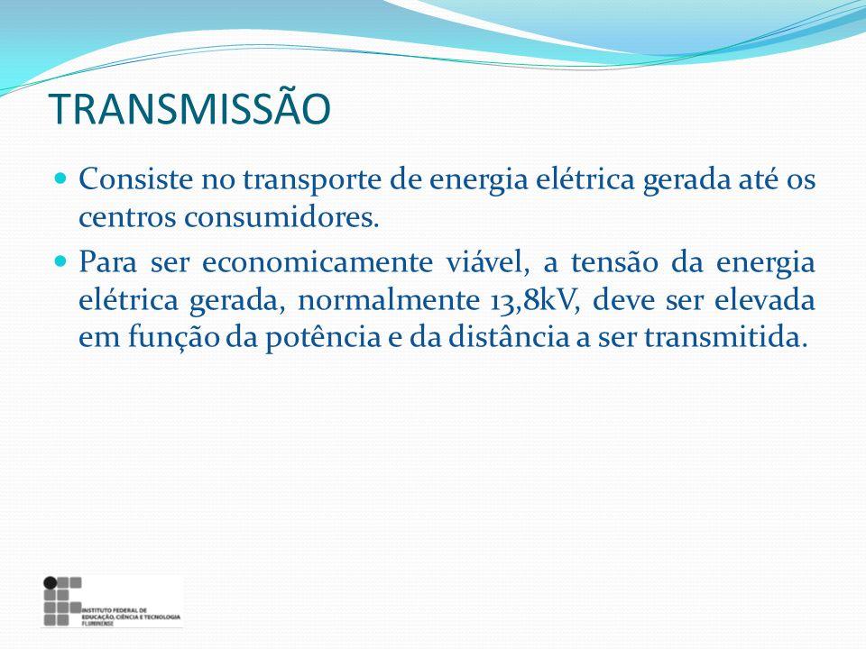 TRANSMISSÃO Consiste no transporte de energia elétrica gerada até os centros consumidores. Para ser economicamente viável, a tensão da energia elétric