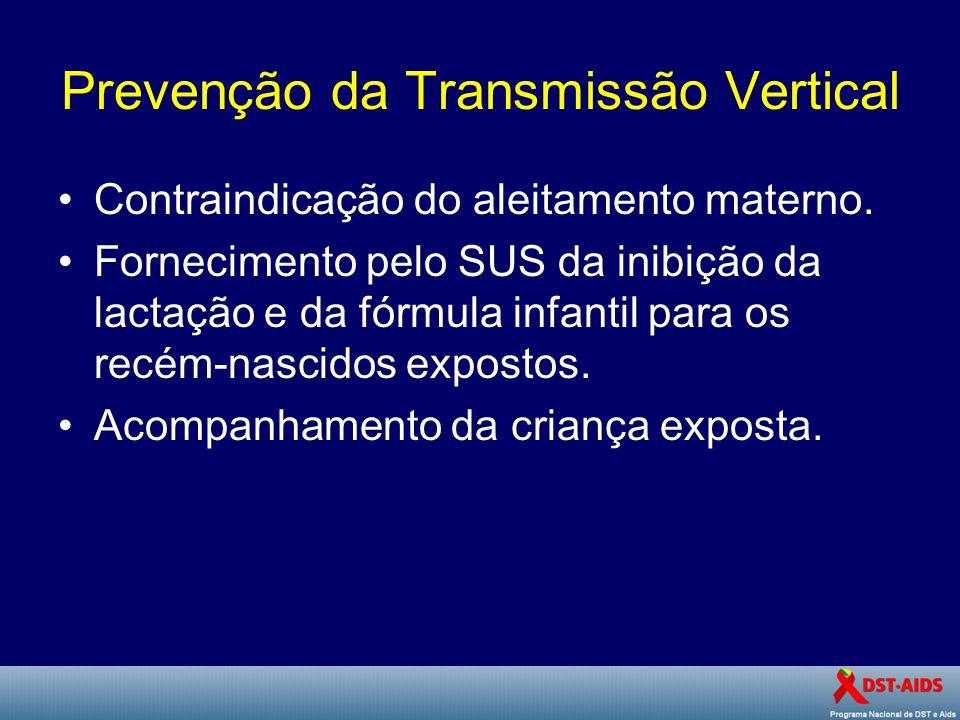 Prevenção da Transmissão Vertical Contraindicação do aleitamento materno. Fornecimento pelo SUS da inibição da lactação e da fórmula infantil para os