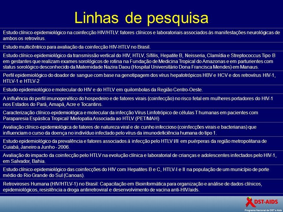 Linhas de pesquisa Estudo clínico-epidemiológico na coinfecção HIV/HTLV: fatores clínicos e laboratoriais associados às manifestações neurológicas de