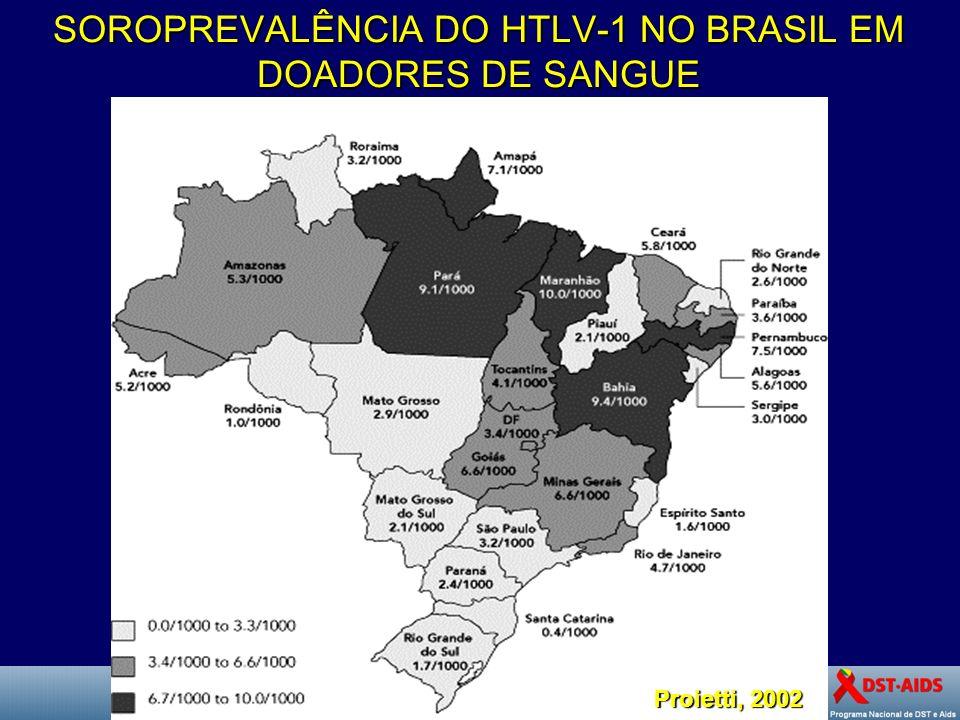 SOROPREVALÊNCIA DO HTLV-1 NO BRASIL EM DOADORES DE SANGUE Proietti, 2002