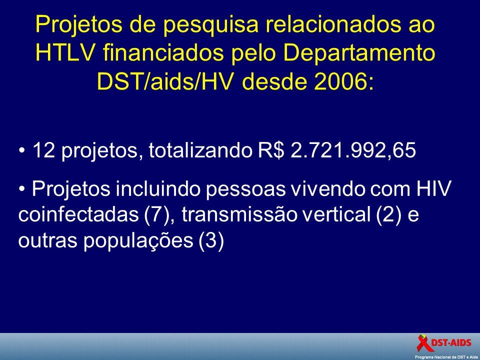 Projetos de pesquisa relacionados ao HTLV financiados pelo Departamento DST/aids/HV desde 2006: 12 projetos, totalizando R$ 2.721.992,65 Projetos incl
