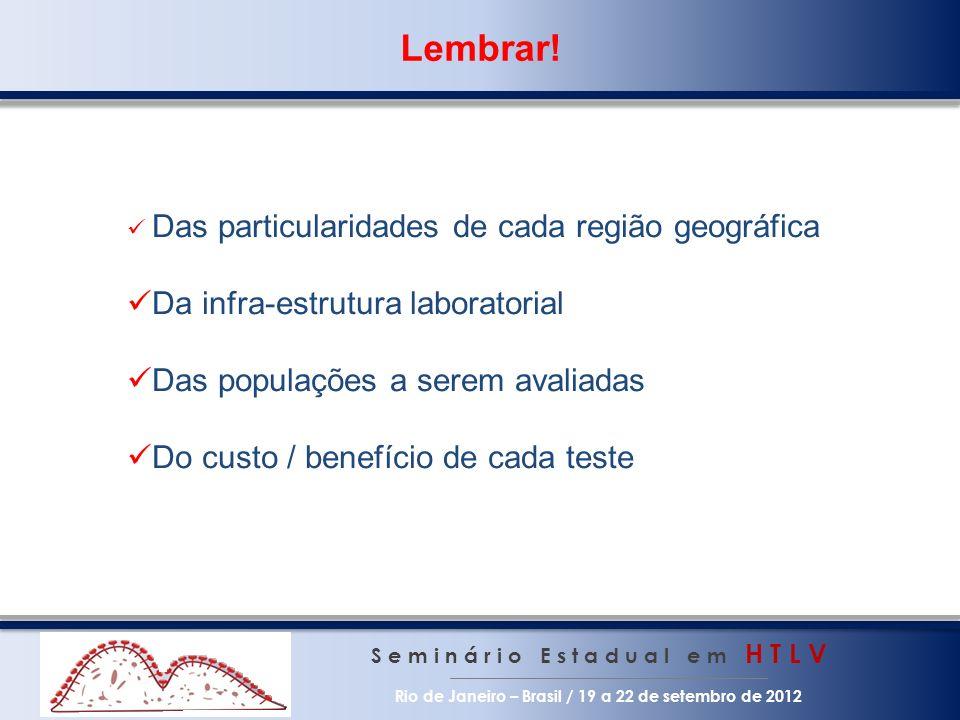 S e m i n á r i o E s t a d u a l e m H T L V Rio de Janeiro – Brasil / 19 a 22 de setembro de 2012 Lembrar.