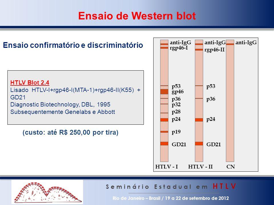Ensaio de Western blot S e m i n á r i o E s t a d u a l e m H T L V Rio de Janeiro – Brasil / 19 a 22 de setembro de 2012 HTLV Blot 2.4 Lisado HTLV-I+rgp46-I(MTA-1)+rgp46-II(K55) + GD21 Diagnostic Biotechnology, DBL, 1995 Subsequentemente Genelabs e Abbott Ensaio confirmatório e discriminatório (custo: até R$ 250,00 por tira)
