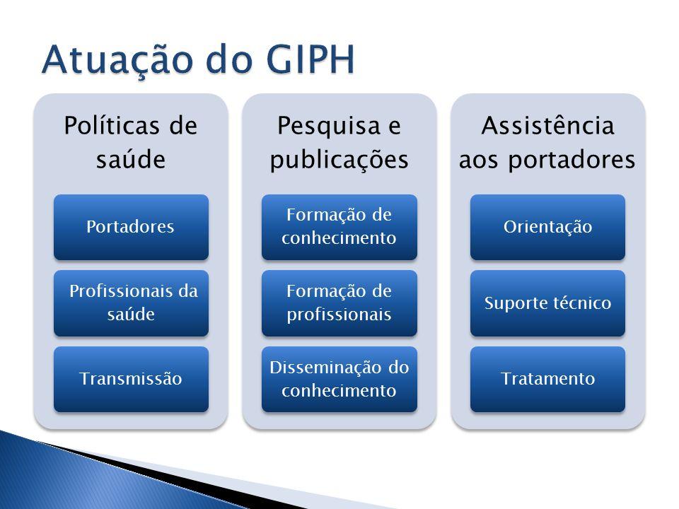 Políticas de saúde Portadores Profissionais da saúde Transmissão Pesquisa e publicações Formação de conhecimento Formação de profissionais Disseminaçã