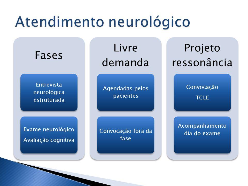 Fases Entrevista neurológica estruturada Exame neurológico Avaliação cognitiva Livre demanda Agendadas pelos pacientes Convocação fora da fase Projeto