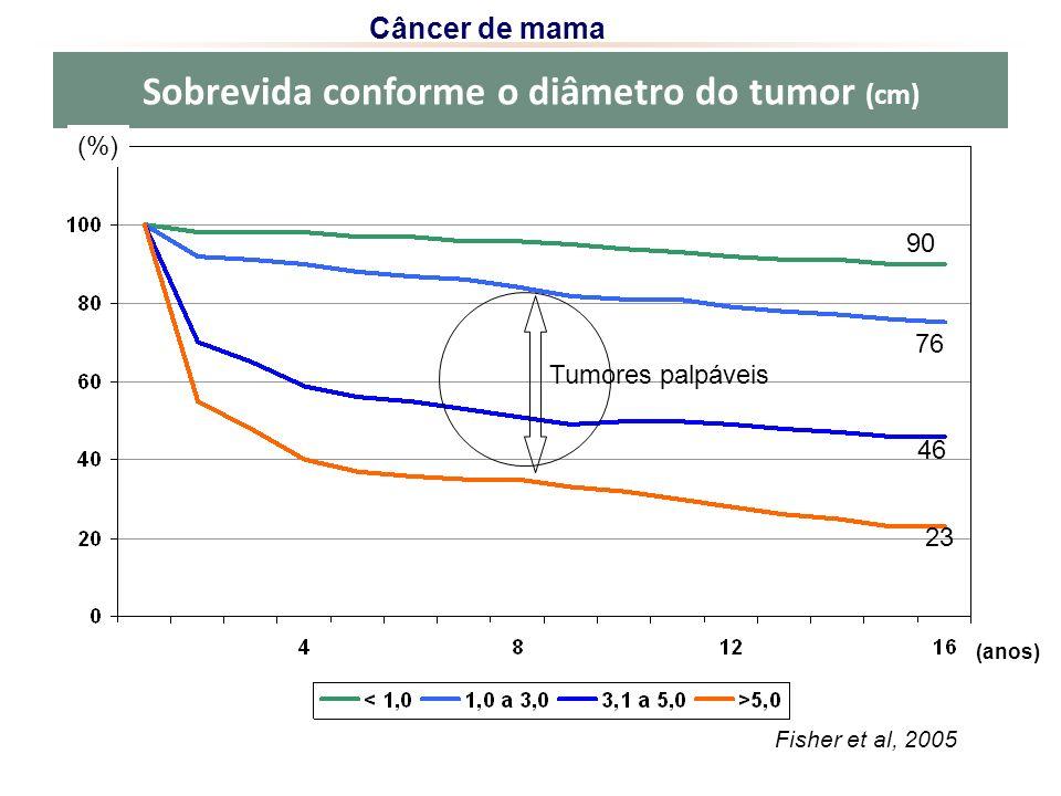 Sobrevida conforme o diâmetro do tumor (cm) Fisher et al, 2005 (anos) Câncer de mama 23 46 76 (%) 90 Tumores palpáveis