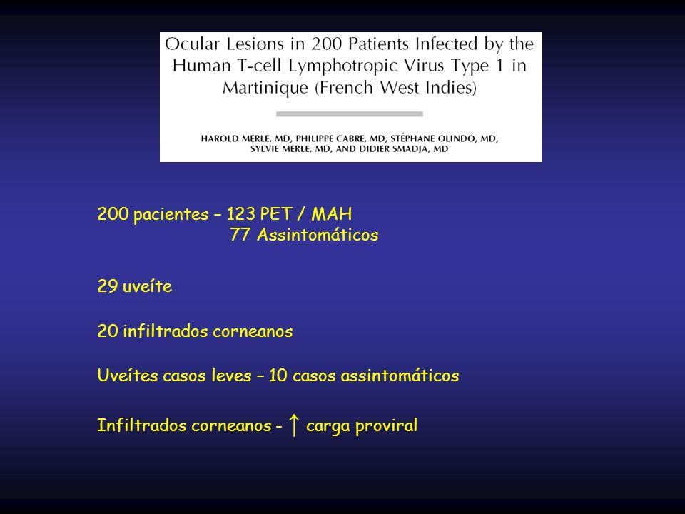 200 pacientes – 123 PET / MAH 77 Assintomáticos 29 uveíte 20 infiltrados corneanos Uveítes casos leves – 10 casos assintomáticos Infiltrados corneanos