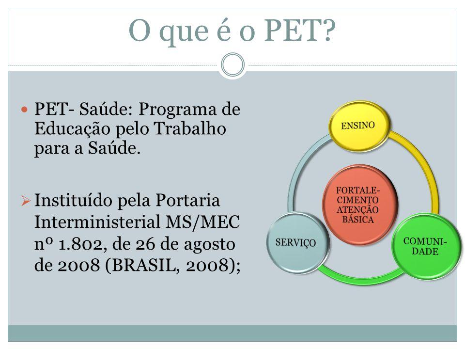 O que é o PET? PET- Saúde: Programa de Educação pelo Trabalho para a Saúde. Instituído pela Portaria Interministerial MS/MEC nº 1.802, de 26 de agosto