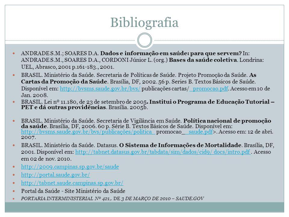 Bibliografia ANDRADE S.M.; SOARES D.A. Dados e informação em saúde: para que servem? In: ANDRADE S.M., SOARES D.A., CORDONI Júnior L. (org.) Bases da