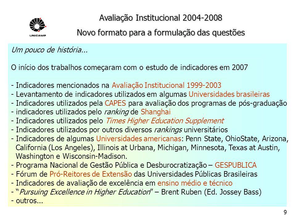 10 - Objetividade - Facilidade de acesso e manipulação dos dados de sustentação - Avaliação de resultados, primordialmente - Articulação com o Planejamento Estratégico da Unidade/Colégio - Análise comparativa com outras instituições do Brasil e do exterior - Avaliação dos temas Graduação, Pós-Graduação, Pesquisa, Extensão e Gestão Acadêmica e Colégios - Atenção às especificidades de cada área do conhecimento (Biológicas e Biomédicas, (Tecnológicas, Exatas, Humanidades e Artes, Colégios) Avaliação Institucional 2004-2008 Orientações gerais