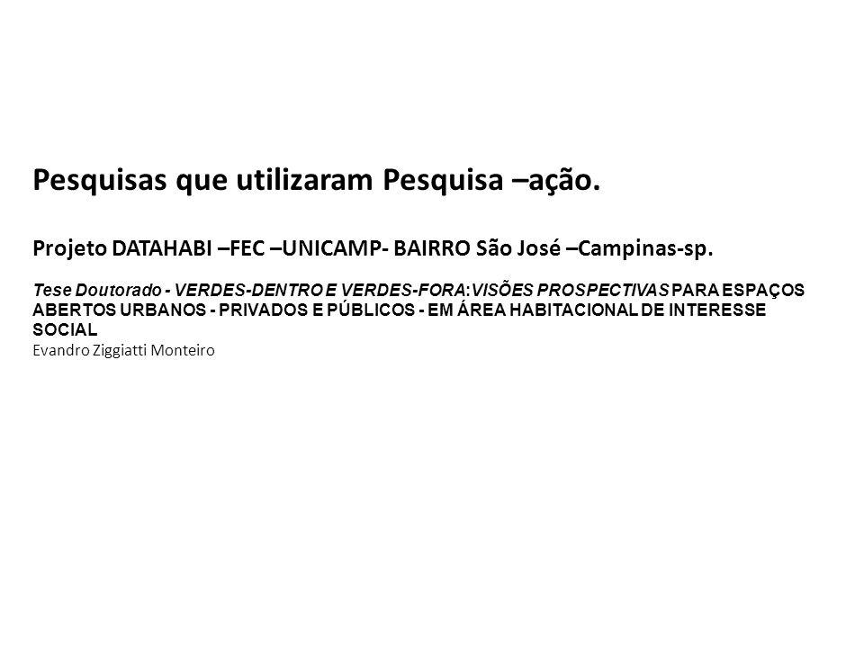 Pesquisas que utilizaram Pesquisa –ação. Projeto DATAHABI –FEC –UNICAMP- BAIRRO São José –Campinas-sp. Tese Doutorado - VERDES-DENTRO E VERDES-FORA:VI