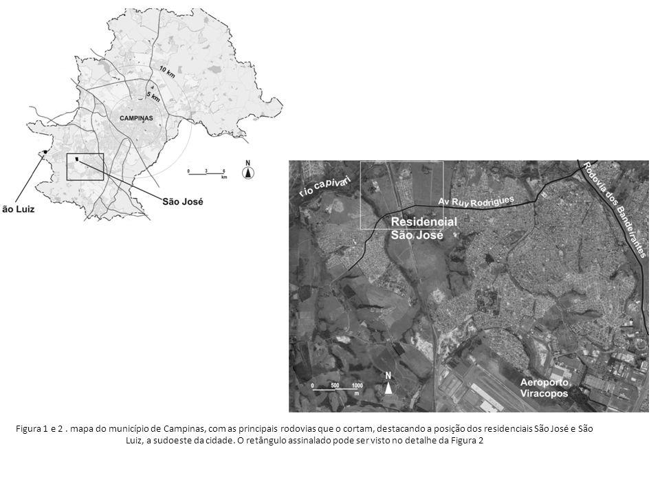 Figura 1 e 2. mapa do município de Campinas, com as principais rodovias que o cortam, destacando a posição dos residenciais São José e São Luiz, a sud