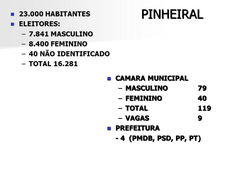 PINHEIRAL 23.000 HABITANTES 23.000 HABITANTES ELEITORES: ELEITORES: –7.841 MASCULINO –8.400 FEMININO –40 NÃO IDENTIFICADO –TOTAL 16.281 CAMARA MUNICIP