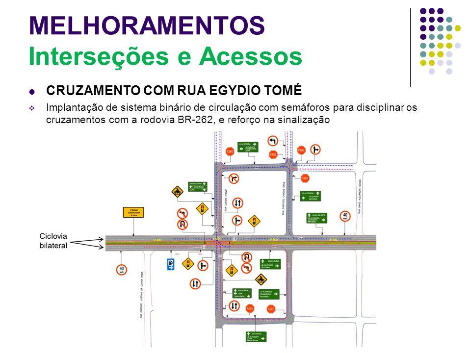 MELHORAMENTOS Interseções e Acessos CRUZAMENTO COM RUA EGYDIO TOMÉ Implantação de sistema binário de circulação com semáforos para disciplinar os cruz