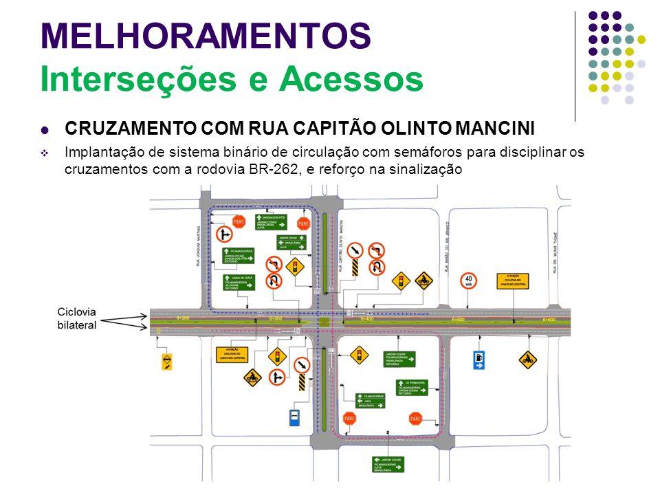MELHORAMENTOS Interseções e Acessos CRUZAMENTO COM RUA CAPITÃO OLINTO MANCINI Implantação de sistema binário de circulação com semáforos para discipli