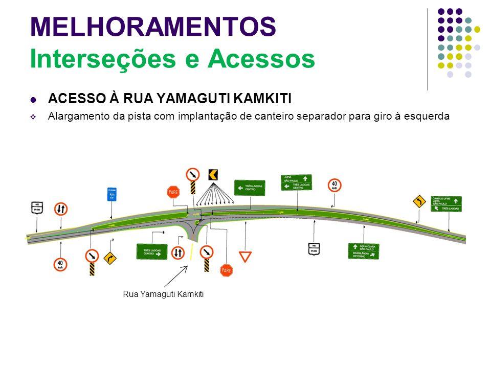 MELHORAMENTOS Interseções e Acessos ACESSO À RUA YAMAGUTI KAMKITI Alargamento da pista com implantação de canteiro separador para giro à esquerda Rua