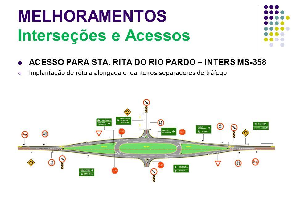 MELHORAMENTOS Interseções e Acessos ACESSO PARA STA. RITA DO RIO PARDO – INTERS MS-358 Implantação de rótula alongada e canteiros separadores de tráfe