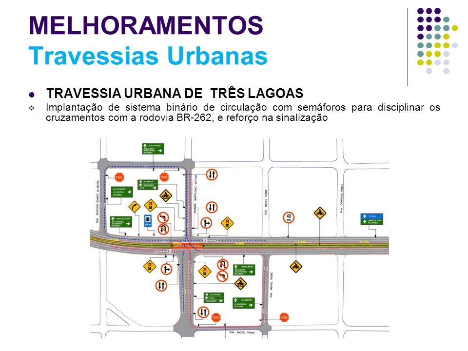 MELHORAMENTOS Travessias Urbanas TRAVESSIA URBANA DE TRÊS LAGOAS Implantação de sistema binário de circulação com semáforos para disciplinar os cruzam