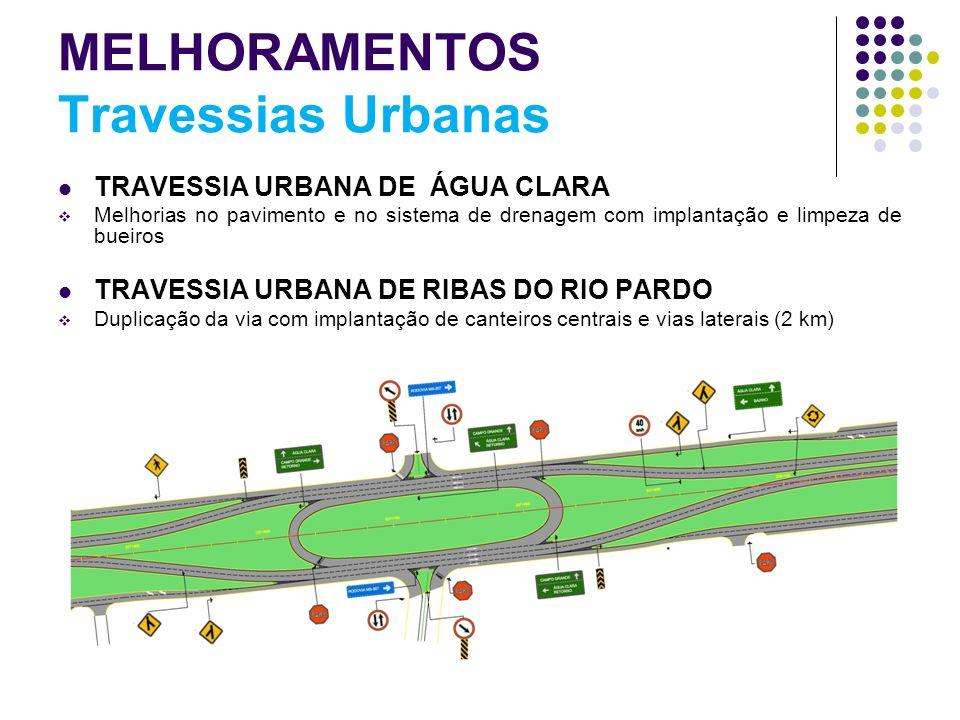 MELHORAMENTOS Travessias Urbanas TRAVESSIA URBANA DE ÁGUA CLARA Melhorias no pavimento e no sistema de drenagem com implantação e limpeza de bueiros T