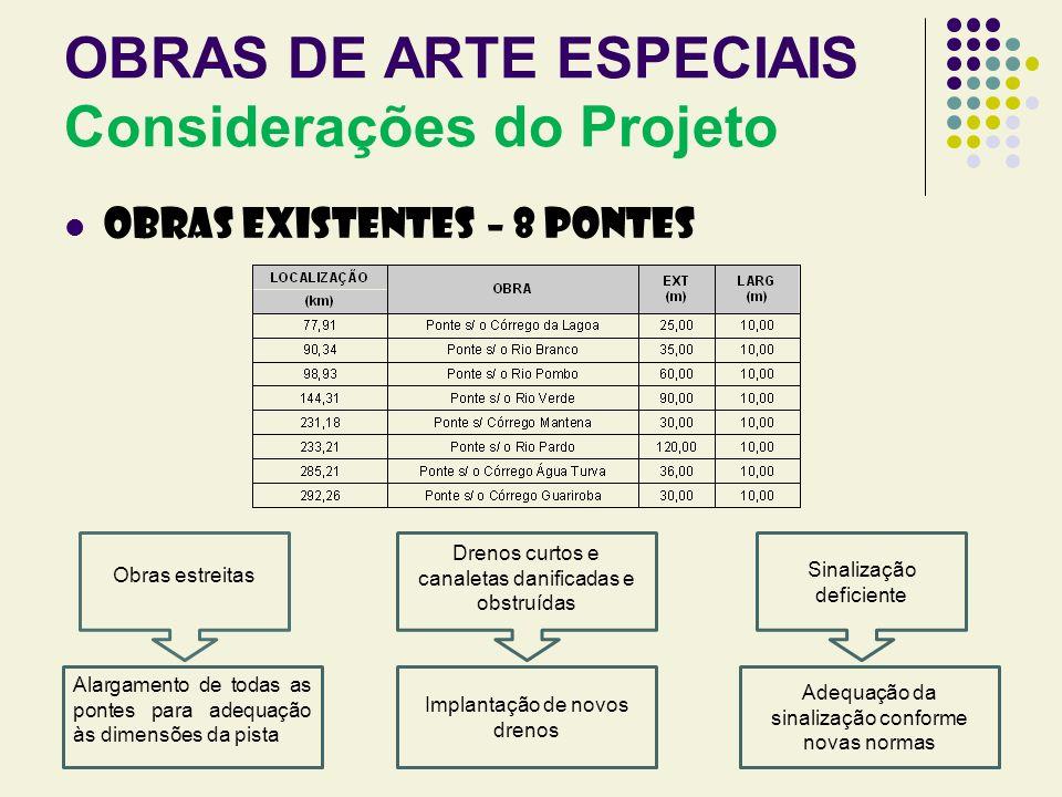 OBRAS DE ARTE ESPECIAIS Considerações do Projeto OBRAS EXISTENTES – 8 PONTES Obras estreitas Alargamento de todas as pontes para adequação às dimensõe