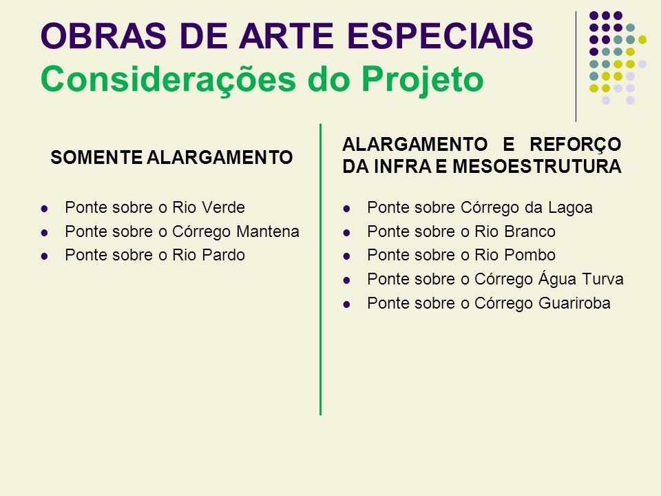 OBRAS DE ARTE ESPECIAIS Considerações do Projeto SOMENTE ALARGAMENTO Ponte sobre o Rio Verde Ponte sobre o Córrego Mantena Ponte sobre o Rio Pardo ALA