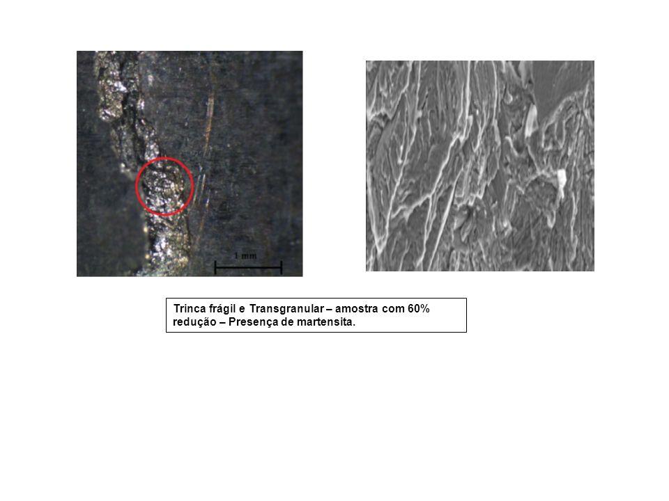 Trinca frágil e Transgranular – amostra com 60% redução – Presença de martensita.