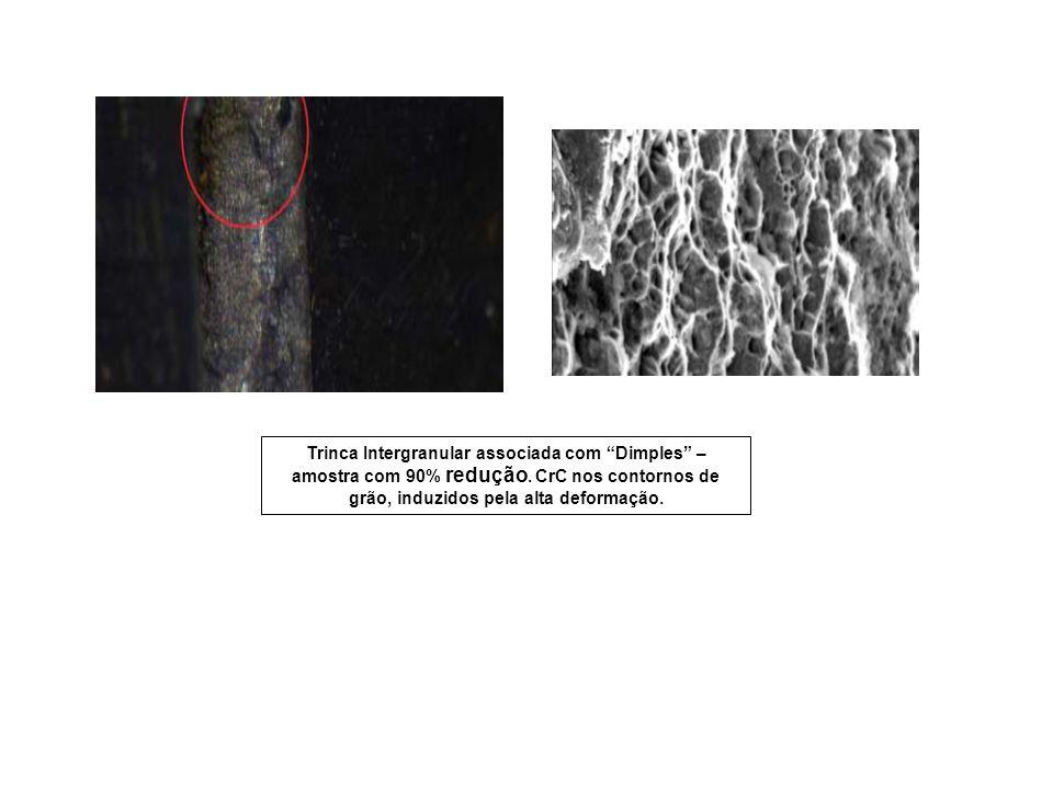 Trinca Intergranular associada com Dimples – amostra com 90% redução. CrC nos contornos de grão, induzidos pela alta deformação.