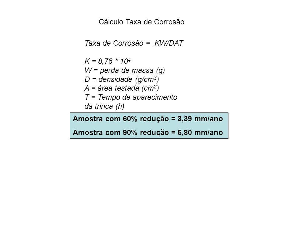 Cálculo Taxa de Corrosão Taxa de Corrosão = KW/DAT K = 8,76 * 10 4 W = perda de massa (g) D = densidade (g/cm 3 ) A = área testada (cm 2 ) T = Tempo d
