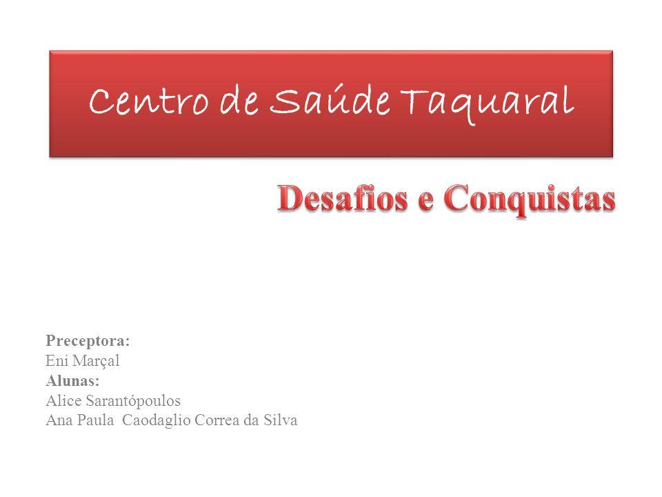 Centro de Saúde Taquaral Preceptora: Eni Marçal Alunas: Alice Sarantópoulos Ana Paula Caodaglio Correa da Silva