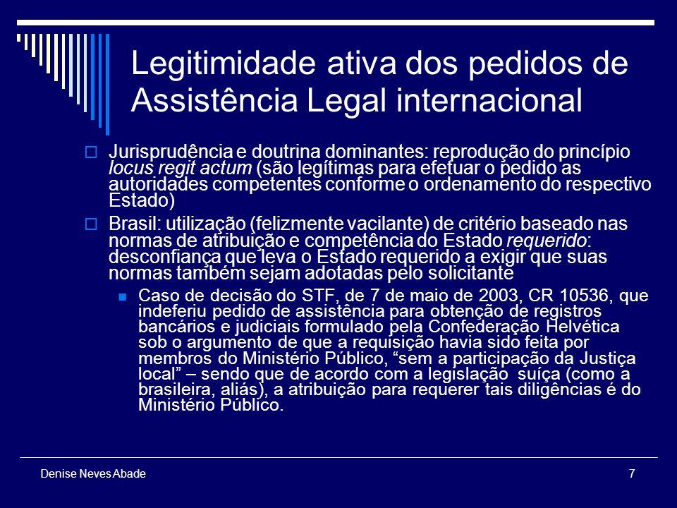 18 Denise Neves Abade Autoridade Central Funções das autoridades centrais : Intervir como órgão de tramitação dos pedidos de assistência, substituindo a via diplomática; Informar o direito do País ao Estado estrangeiro (informação não-vinculante).