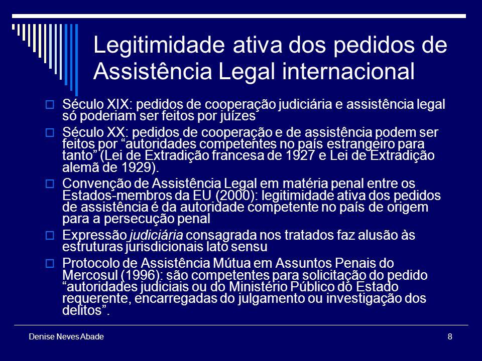 9 Denise Neves Abade Legitimidade ativa dos pedidos de Assistência Legal internacional No Brasil: polícias e órgãos fazendários (inclusive Polícia Federal e Receita Federal) não têm legitimidade para formular pedido de assistência, pois não possuem legitimação processual penal ativa (sem prejuízo de cooperação administrativa) Indivíduos (vítima e acusado): com raras exceções (legislação interna suíça é uma delas), não são entendidos como parte legítimas